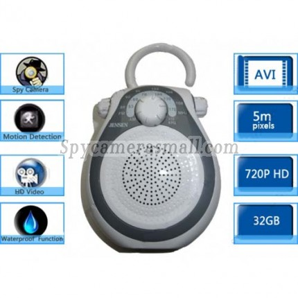 Bathroom Spy Shower Radio Camera - 32GB AM FM Shower Radio Hidden HD Pinhole Spy Camera DVR 1280X720 Motion Activated