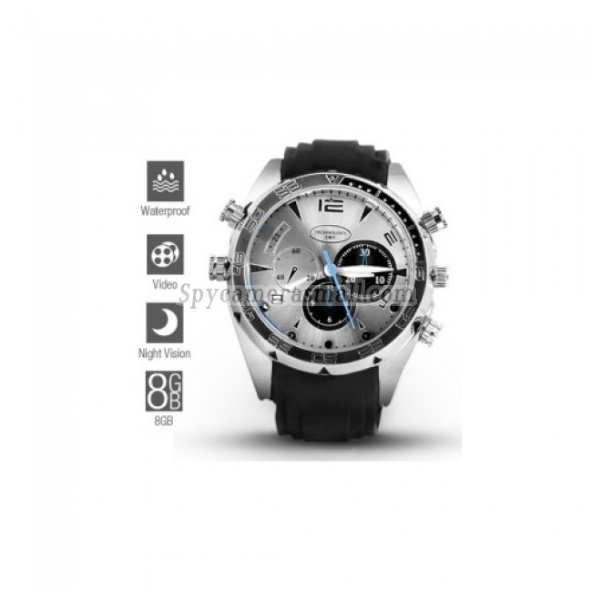 1080P HD IR Night Vision Waterproof Spy Watch (8GB)