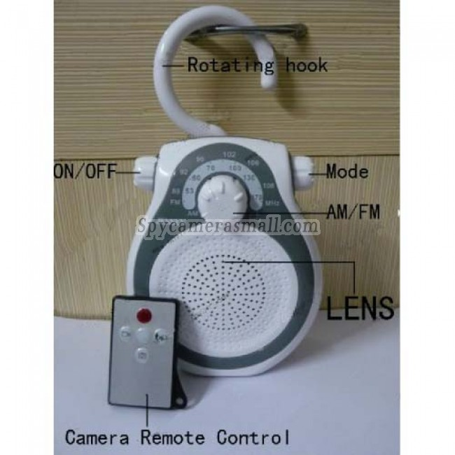 Bathroom Spy Shower Radio Camera - AM FM Shower Radio Hidden HD Pinhole Spy Camera DVR 16GB 1280X720 Motion Activated