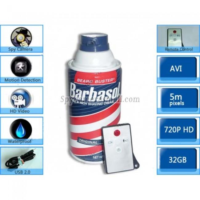 Shaving Cream Shower Spy Camera - 32GB Bathroom Spy Camera Shaving Cream Hidden Camera Motion Activated DVR HD 720P Remote Control